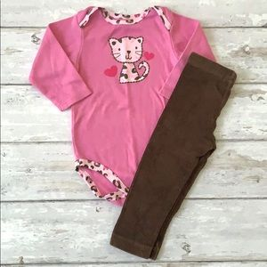 Baby Girls 12m Cat Outfit Pink Brown 12m Onesie
